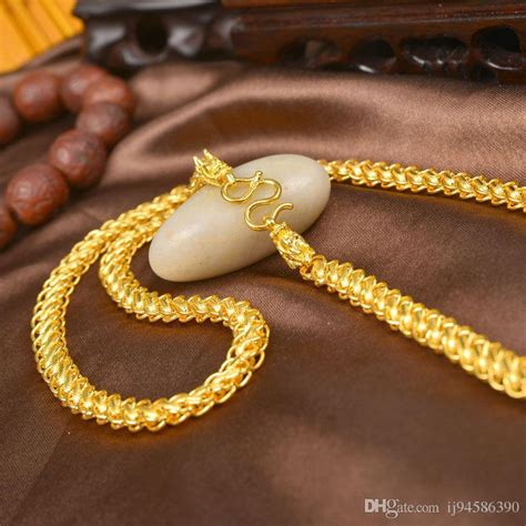2017 Details About Pure Solid 24k Yellow Gold Chain