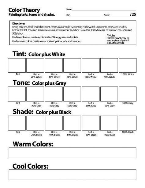 color theory worksheet color theory worksheet search journal