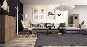 Salon Gris Et Bois : d co salon gris avec canap tout confort 55 id es pour vous ~ Melissatoandfro.com Idées de Décoration