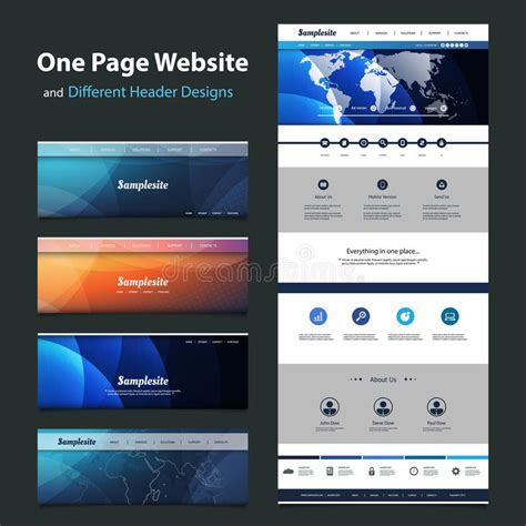 one page website template and different header designs stock vector illustration of curve