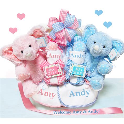 double  blessings twins baby gift basket personalized