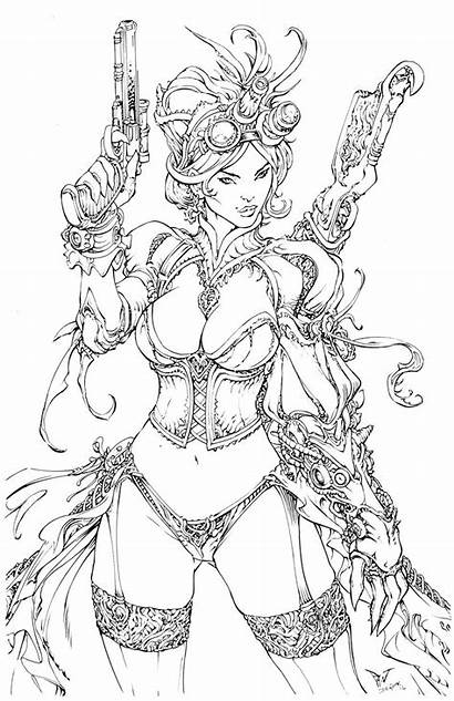 Mechanika Lady Coloring Pages Deviantart Devgear Steampunk