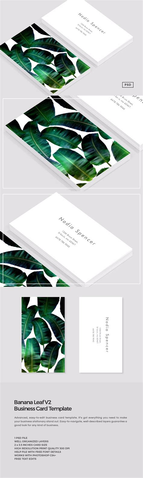 leaf name card template banana leaf business card template business card