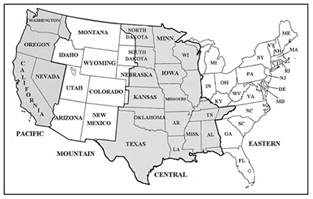 US Map - Us time zone map black and white