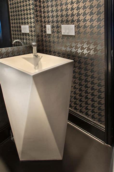 bathroom  silver houndstooth walls modern pedestal