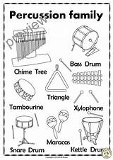 Percussion Instruments Coloring Drum Pages Snare Line Bass Names Xylophone Cymbals Musical Visit Puzzles Bells Wind Triangle Tubular Tambourine Gong sketch template