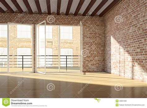 Empty Loft With Red Brick Wall Stock Illustration - Image