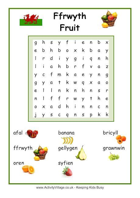 fruit word search welsh welsh language welsh words