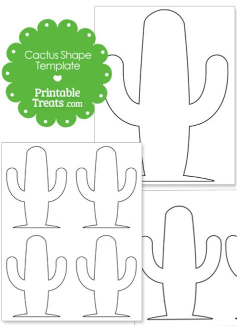 cactus template large rounded cactus shape printable treats