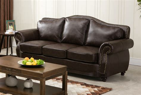 linden traditional brown bonded leather sofa loveseat