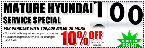 Hyundai Coupon by Hyundai 100 000 Mile Service Discount Coupon San Diego
