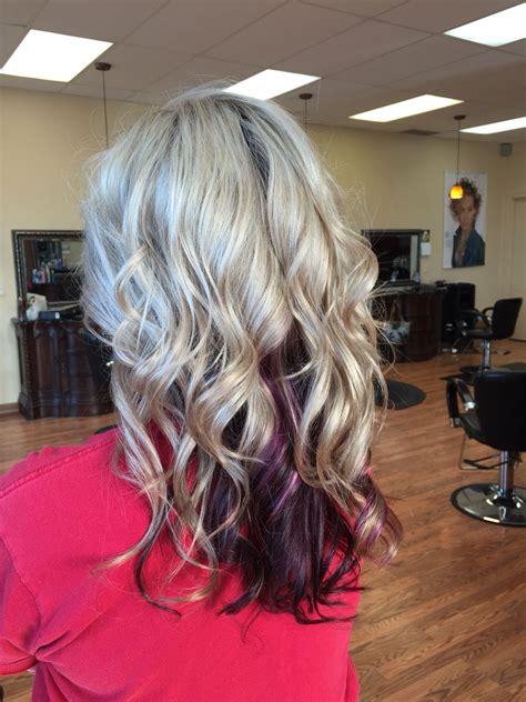 Bleach Blonde Hair With Purple Underneath Hair