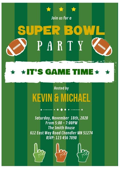 super bowl party invitation template postermywall