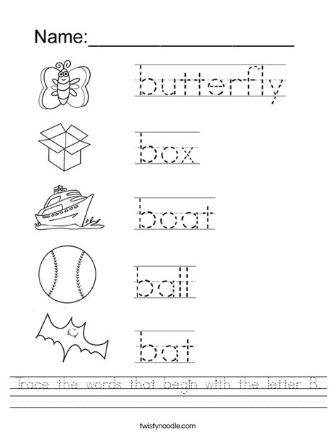 trace the words that begin with the letter b worksheet 115 | trace the words that begin with the letter b worksheet
