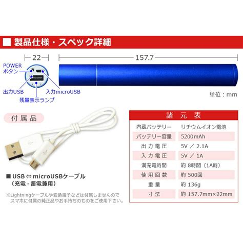 【楽天市場】【送料無料】5200mah大容量モバイルバッテリー 21a高速充電 Ipadも充電ok スティック