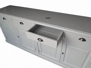 Buffet Bas Blanc : buffet bois massif 4 portes 4 tiroirs ~ Teatrodelosmanantiales.com Idées de Décoration