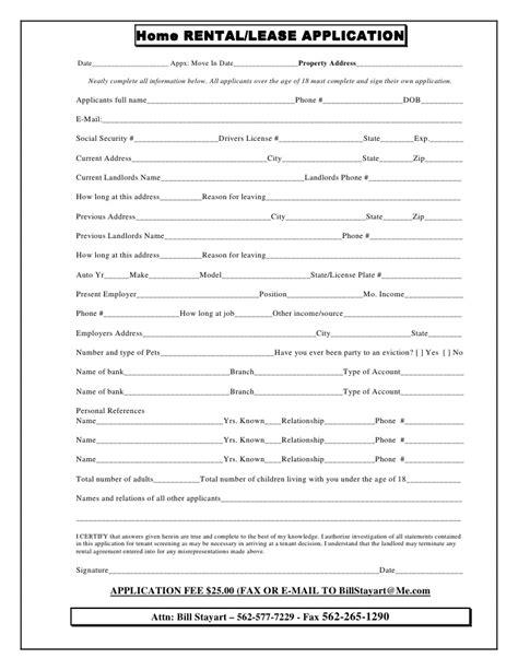 house rental application form ontario rental application