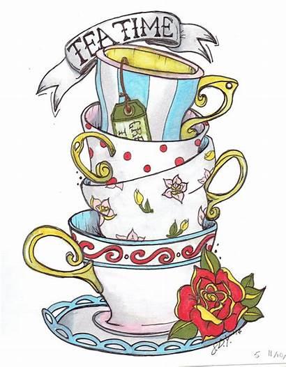 Wonderland Alice Stacked Teacup Teacups Tea Cup