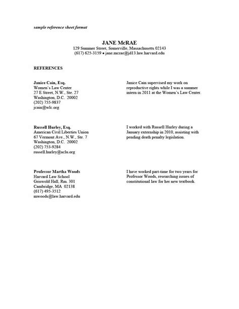 References Template by 40 Professional Reference Page Sheet Templates