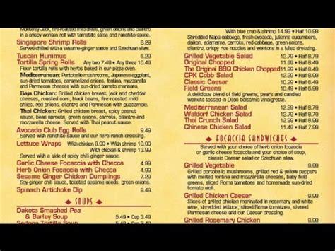 california pizza kitchen menu california pizza kitchen