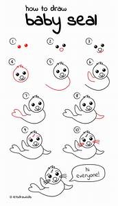 How to draw Baby Seal. Easy drawing, step by step, perfect ...