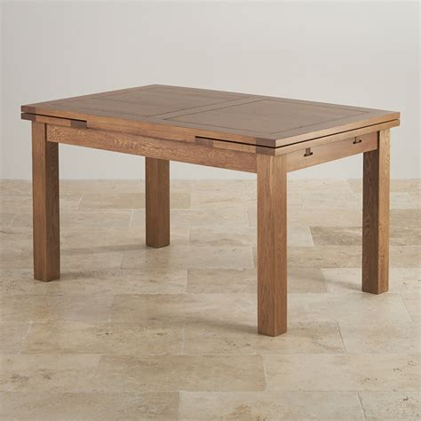 Rustic Extending Dining Table In Real Oak  Oak Furniture Land