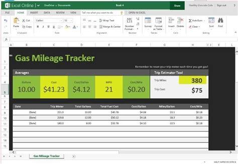 gas mileage tracker  excel