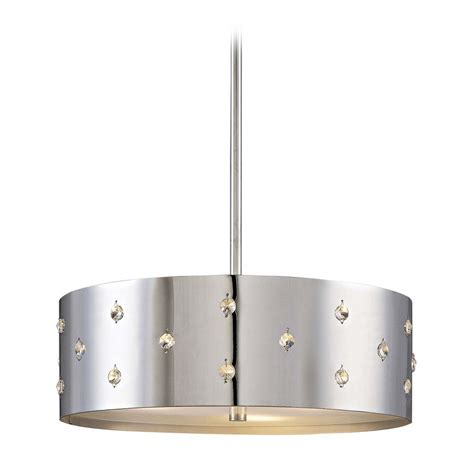 pendant drum light modern drum pendant light in chrome finish p033 077