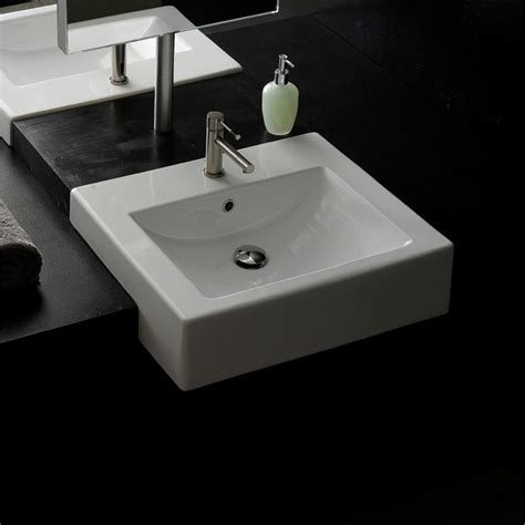 semi recessed bathroom sink square semi recessed sink zuri furniture