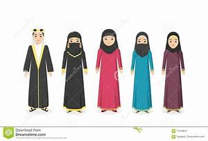 Saudi Arabia Traditional Clothes People Stock Vector ...