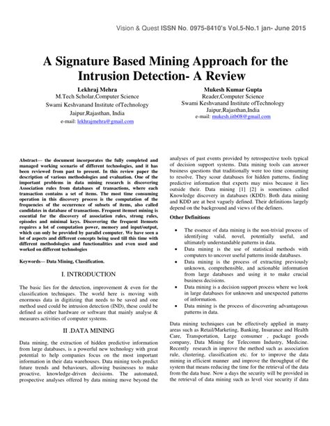 (PDF) A Signature Based Mining Approach for the Intrusion