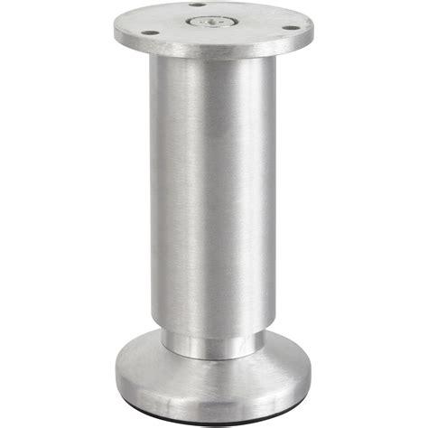 pied reglable pour meuble cuisine pied de meuble cylindrique réglable aluminium brossé gris