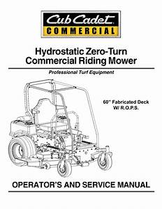 Cub Cadet 60 Fabricated Deck Service Manual