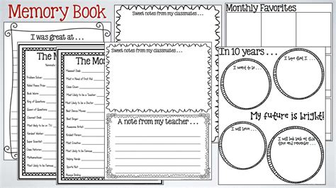 memory book templates free printable memory book for grade end of the school year activities for kindergarten