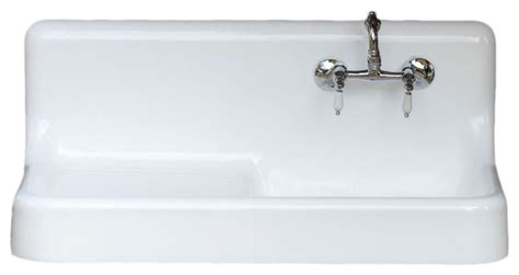 restaurant kitchen sinks consigned refinished 42 quot cast iron 1907 high back farm 1907
