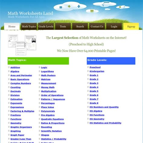 math worksheets land tons of printable math worksheets from all grade levels pearltrees