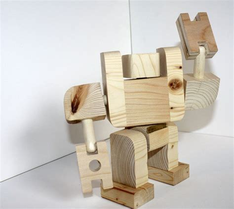 big block bot wooden toy robot  wilsonartfactory  etsy product design wooden toys wood