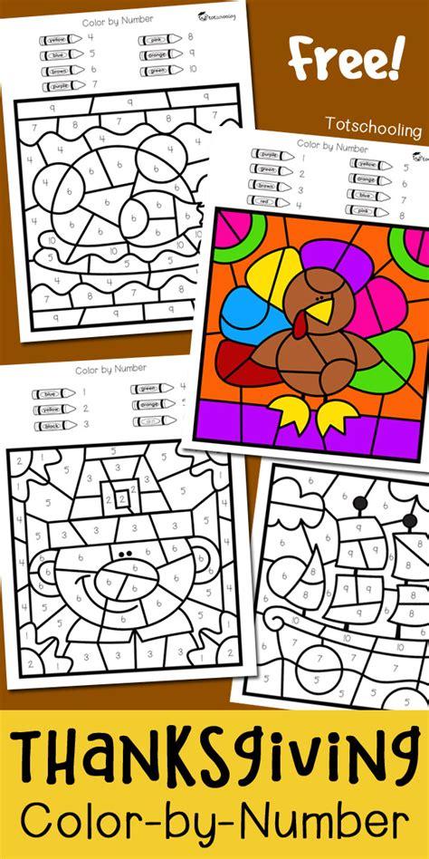 Thanksgiving Color By Number  Totschooling  Toddler, Preschool, Kindergarten Educational
