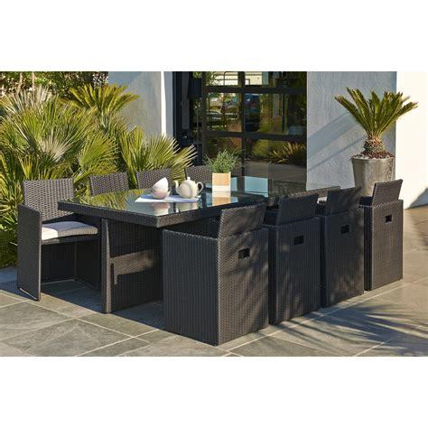 beautiful salon de jardin en salon de jardin encastrable résine tressée noir 1 table
