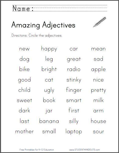 amazing adjectives worksheet free to print pdf file