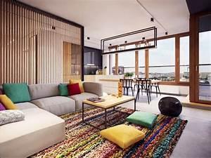 decorer un salon avec un tapis et coussins colores With tapis de couloir avec canapé modulable cinna