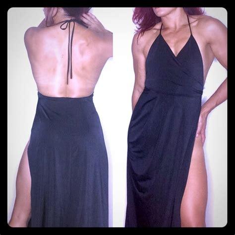 fashion nova slit  hip long black angelina jolie maxi