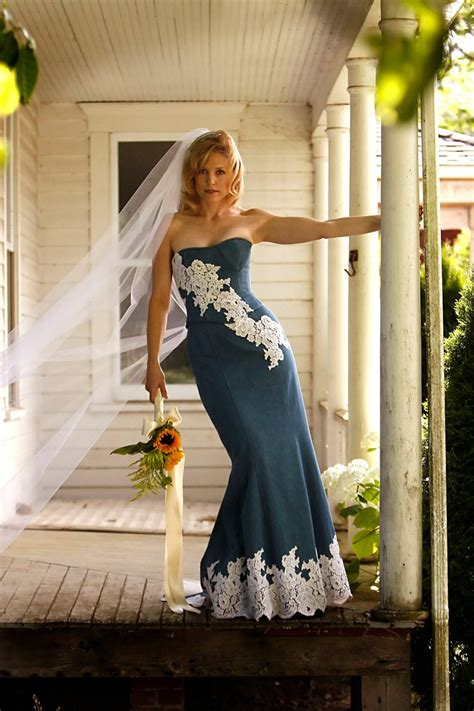 Denim And Lace Rustic Country Wedding Dress Sample Sale Size 6