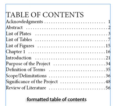 table of contents sle creating a simple table of contents in indesign cs5