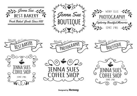 awesome set  assorted hand drawn style labels