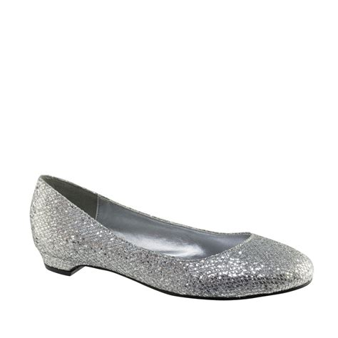 flat silver shoes tamara silver sparkle ballet flats womens bridal wedding