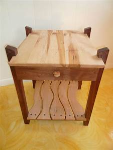 Hand Made Black Walnut Maple End Table W Drawer By