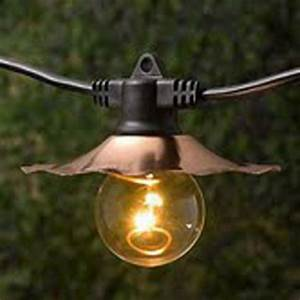 Decorative String Lights with Copper Shades - Bulbs Not