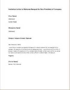 invitation letter to wel e banquet for new president of pany