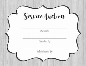 Free Bid Sheets Printable Service Auction Service Points Certificates Free